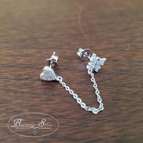 Sterling Silver Heart & Butterfly Stud Earrings with Dangle Chain