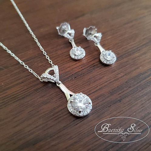Sterling Silver Cubic Zirconia Earrings & Pendant Necklace Set