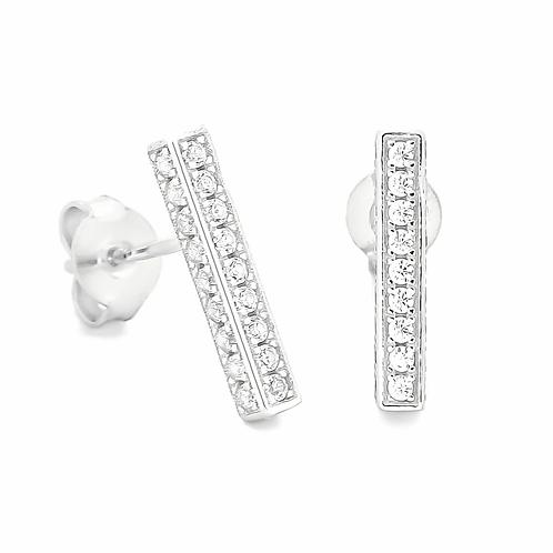 Sterling Silver CZ Bar Stud Earrings
