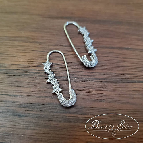 Sterling Silver CZ Safety Pin Earrings