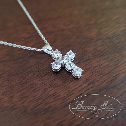 925 Sterling Silver Cubic Zirconia Cross Pendant Necklace