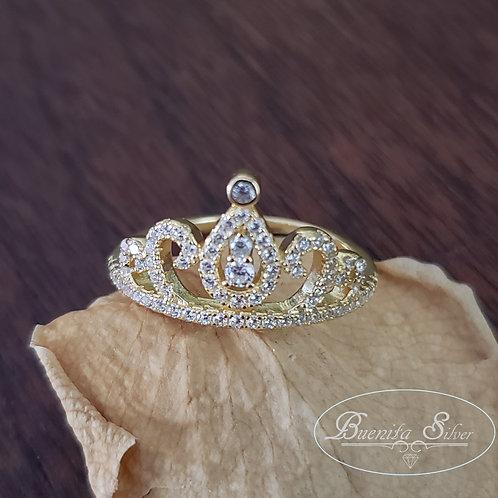 Sterling Silver CZ Princess Tiara Ring