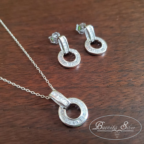 Sterling Silver CZ Open Circle Earrings & Necklace Set