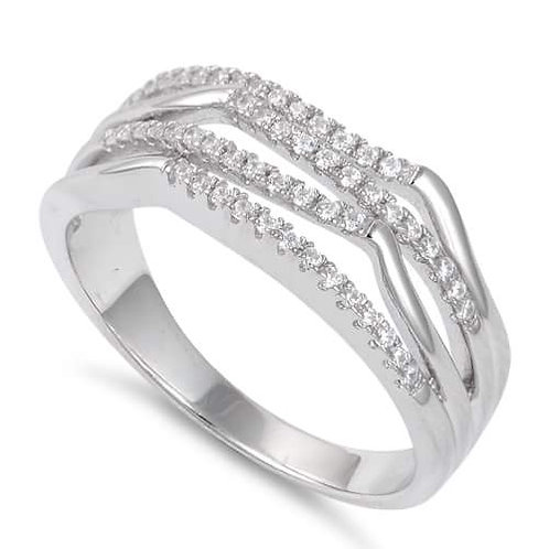 Sterling Silver Crooked CZ Ring
