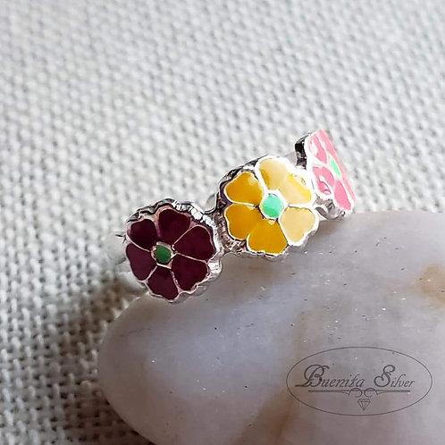 Sterling Silver Multi Color Enamel Flower Toe Ring