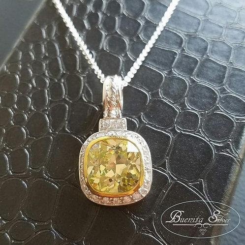 925 Sterling Silver CZ Citrine Stone Necklace
