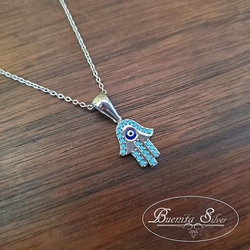 Sterling Silver CZ Hand of God Hamsa Necklace