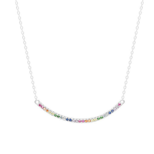 Sterling Silver Multi-Color CZ Curved Bar Necklace