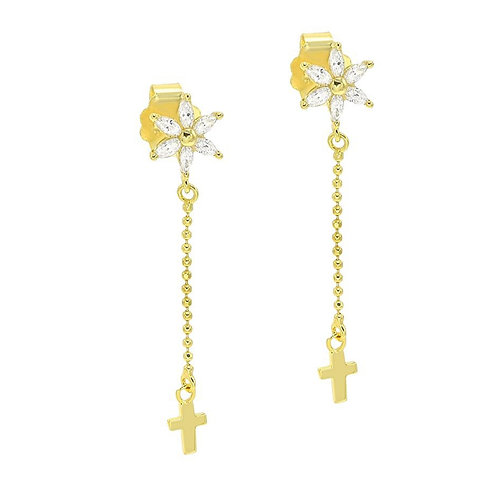 Sterling Silver CZ Flower Dangle Cross Earrings