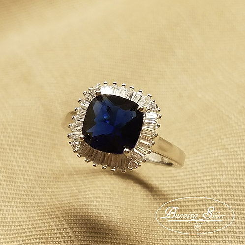 Sterling Silver Blue and White Cubic Zirconia Square Ring