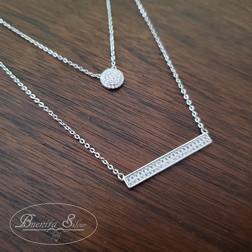Sterling  Silver Two Layered CZ Necklace