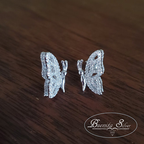Sterling Silver CZ Butterfly Earrings