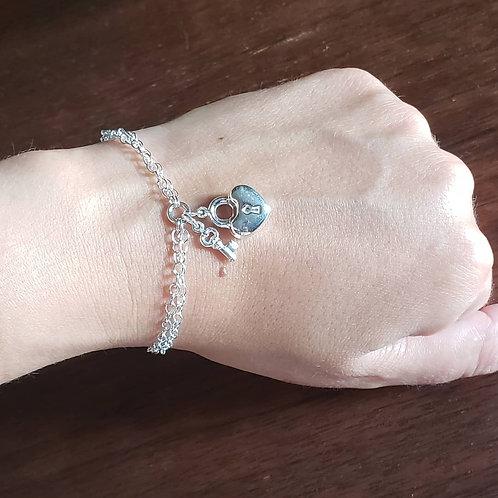 Sterling Silver Heart Lock & Key Charm Bracelet