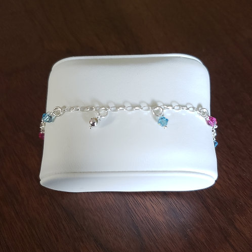 Sterling Silver Crystal Beaded Anklet Bracelet