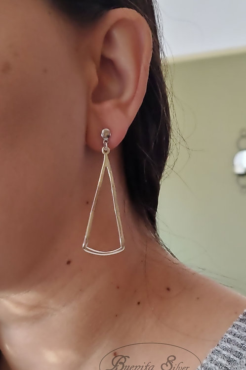 Sterling Silver Triangle Hanging Earrings