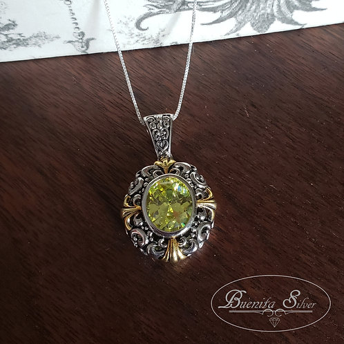Sterling Silver Citrine Stone Pendant Necklace