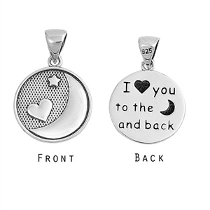 Sterling Silver I love ou to the moon and back pendant necklace