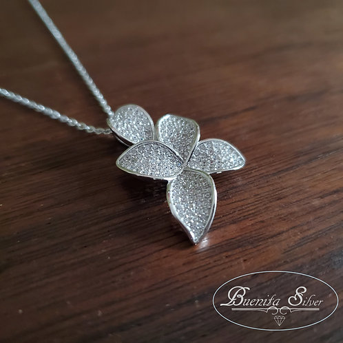 Sterling Silver CZ Flower Pendant Necklace