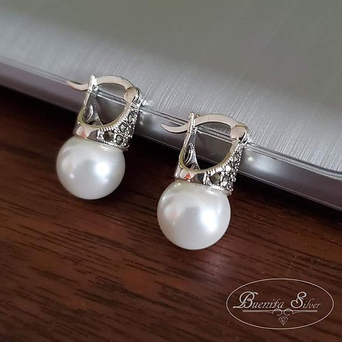 Marcasite & Faux Pearl Sterling Silver Earrings