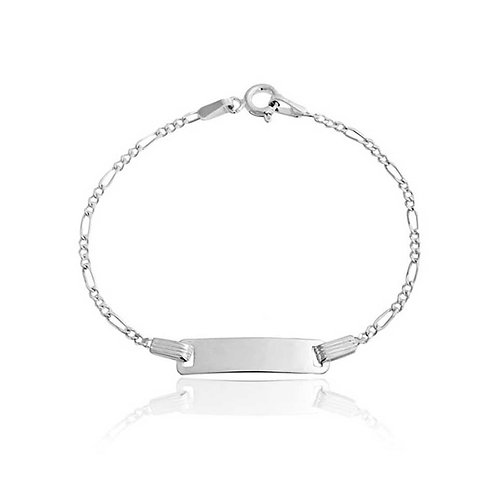 "6"" Sterling Silver Figaro Children ID Bracelet"