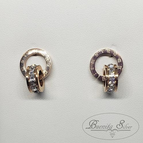Stainless Steel Double Circle Stud Earrings