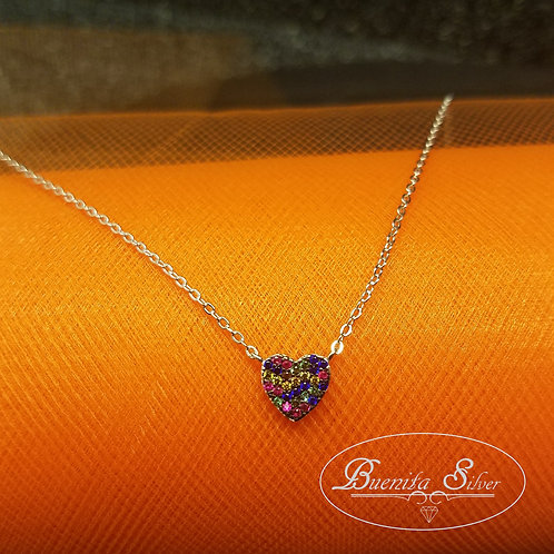 Sterling Silver Multicolor Heart Necklace