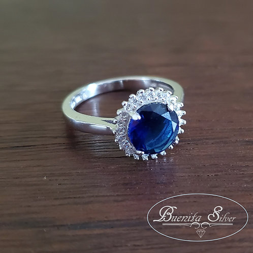 Sterling Silver Simulated Blue Sapphire CZ Round Halo Ring