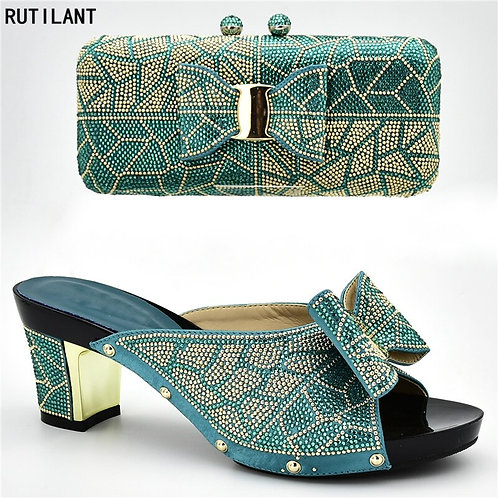 Shoes With Matching Bags Italy Nigerian Women Wedding Shoe and Bag Set