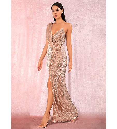 Champagne Sequin Evening Gown