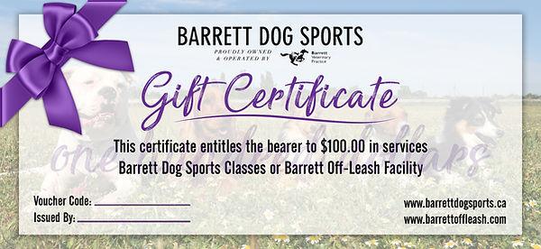 Barrett Dog Sports Gift Certificate 100.