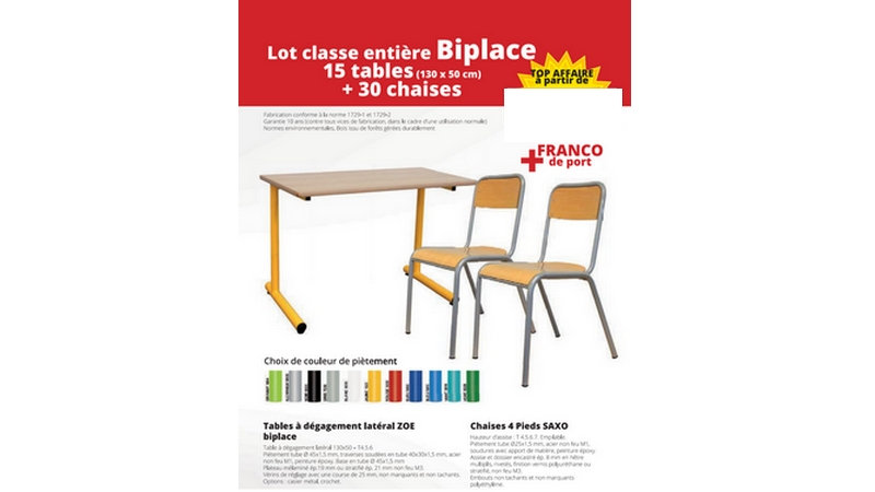PROMOTION PACK - 15 Tables biplaces + 30 Chaises
