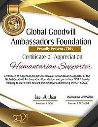 2021 Humanitairan Supporter Certificate