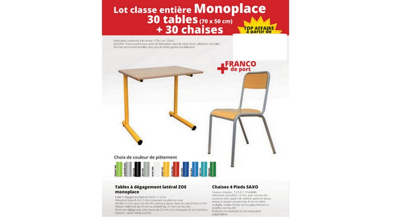 PROMOTION PACK - 30 Tables Monoplace + 30 Chaises