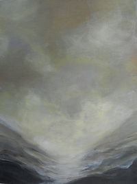 SKY Clouds Mist Yellow 8X12 Acrylic on c