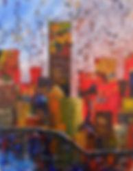 LND Cityscape Sunset 14X18 Acrylic on bo