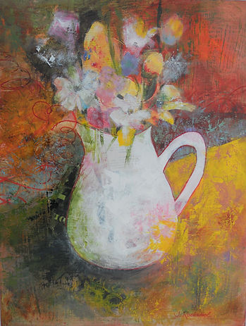 ABSF White Vase 18X24 Mixed Media on can