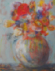 ABSF Red Flowers 2 16X20 Mixed Media on