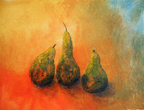 STL Pears 2 24X36 Acrylic Monoprint on p