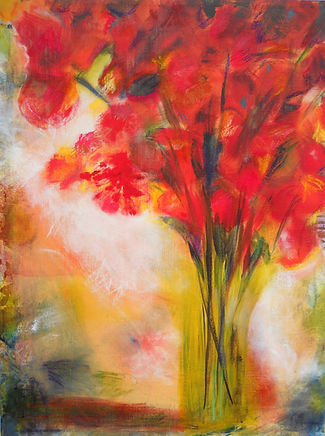 ABSF Red Flowers 24X36 Acrylic&Pastel on