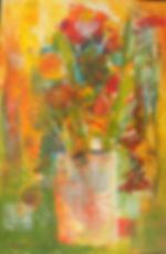 ABSF Dotted Vase 8X10 Mixed Media on boa
