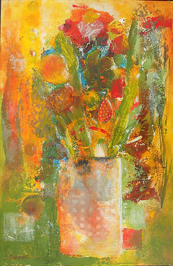 ABSF Dotted Vase 8X10 Mixed Media on boa