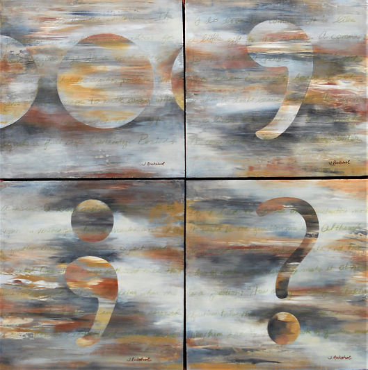 ABS Punctuation Parse 36X36 Polyptych Ac
