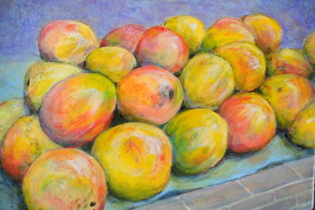 CBA Market Mangoes 6x9 Acrylic on canvas