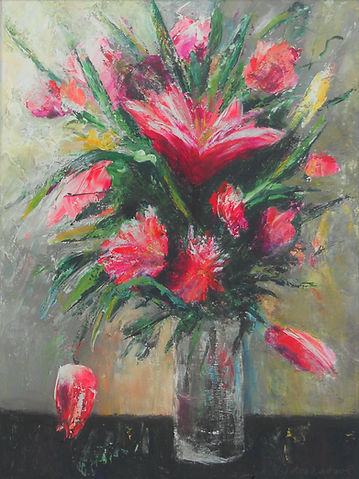STLF Magenta Flowers 18X24 Acrylic on ca