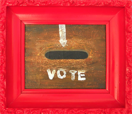 STL VOTE 14.5X 13 Framed Acrylic on canv