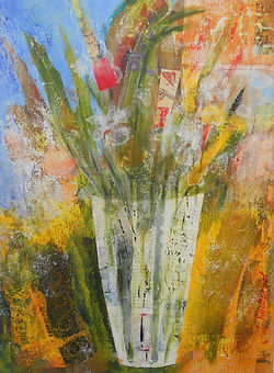 ABSF Fading Flowers 12X16 Mixed Media on