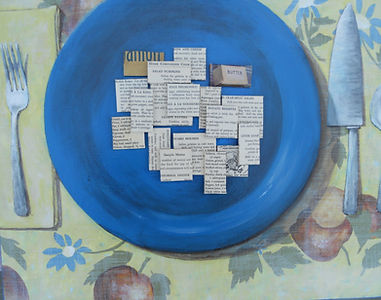 CBS8 BluePlate 16X20 Mixed Media on boar