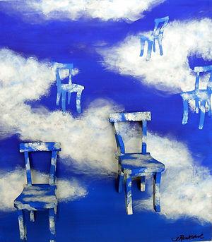 SKY Cloud Chairs 17X19 Acrylic on wood a