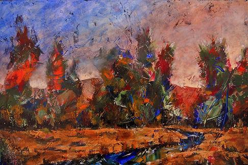LND Trees & Creek Sunset 24X36 Acrylic.J