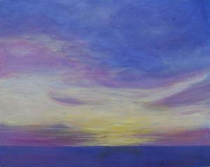 SKY Purple Sunset  14X18 Acrylic on canv